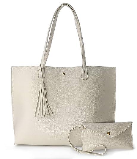 fa0eda145 Amazon.com: Minimalist Clean Cut Pebbled Faux Leather Tote Womens Shoulder  Handbag (Beige): Shoes