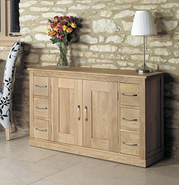 Mobel Solid Oak 2 Door 6 Drawer Large Sideboard With Light Oak Finish Wide Wooden Storage Cupboard Cabinet With Flexible Storage Amazon Co Uk Kitchen Home