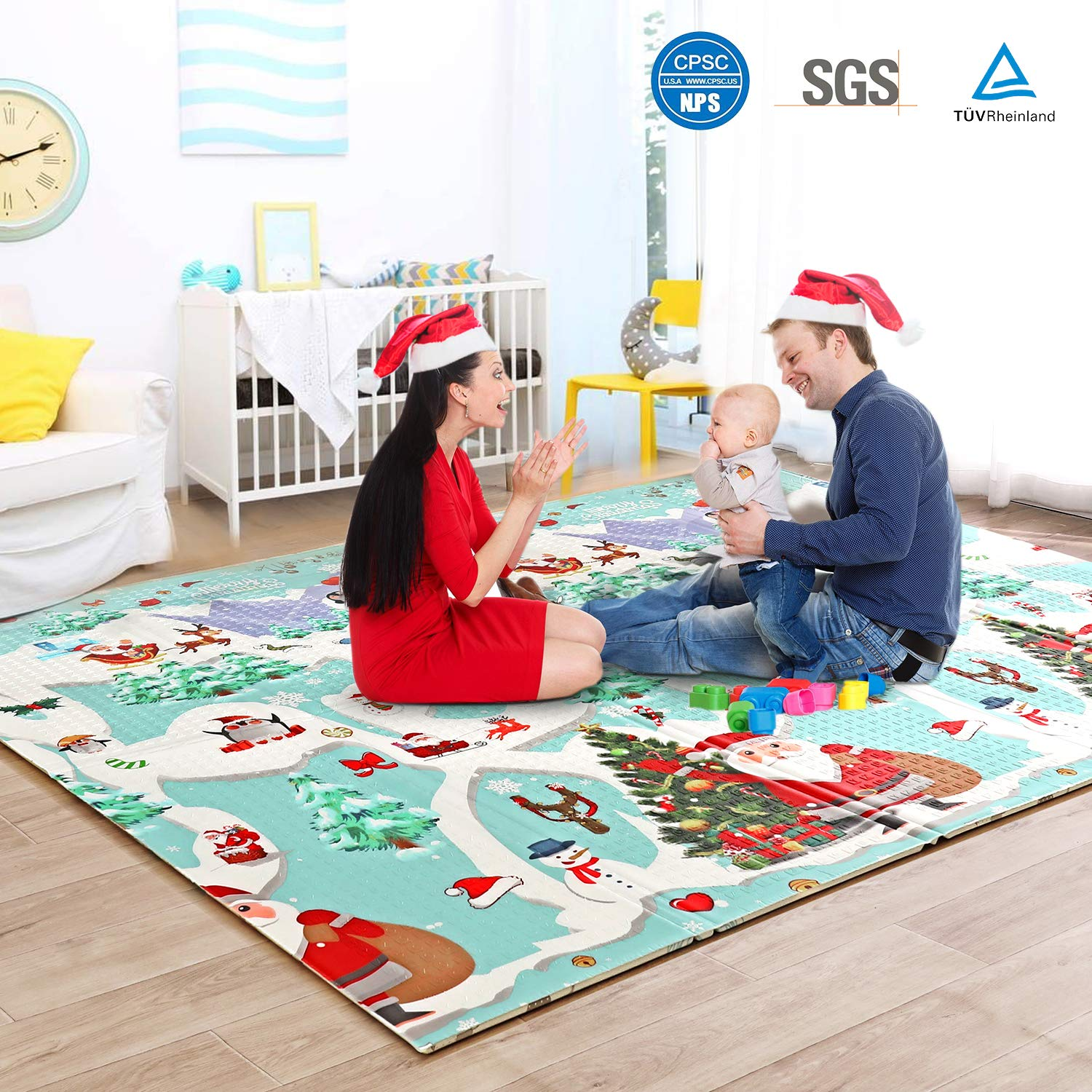 Baby Play Mat Foam Floor Pad with Reversible Christmas Print, 79 x 71 x0.6 Waterproof Foldable, Easy Clean Playmat for Infant, Toddler, Babies Learning to Crawl, Kid s Room,Nontoxic, Safe, Durable