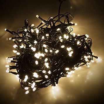 Led Lichterkette 180er warmweißes Licht grünes Kabel für aussen ...
