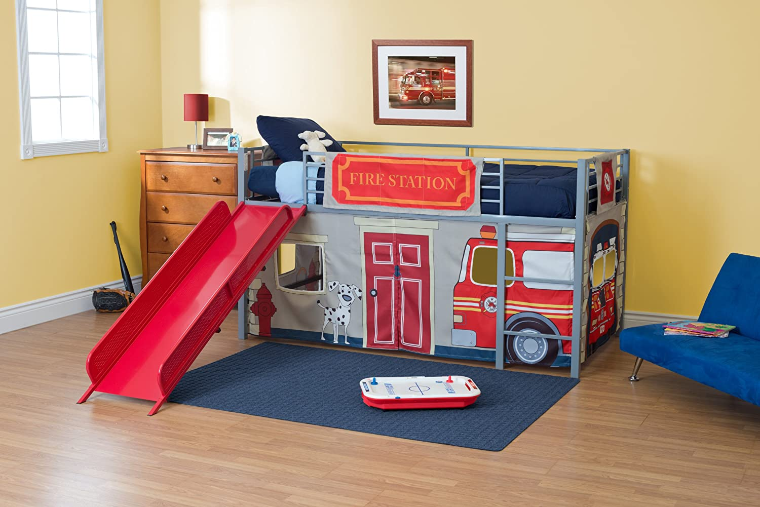 Amazon.com DHP Curtain Set for Junior Loft Bed with Fire Department Design Kitchen u0026 Dining & Amazon.com: DHP Curtain Set for Junior Loft Bed with Fire ...