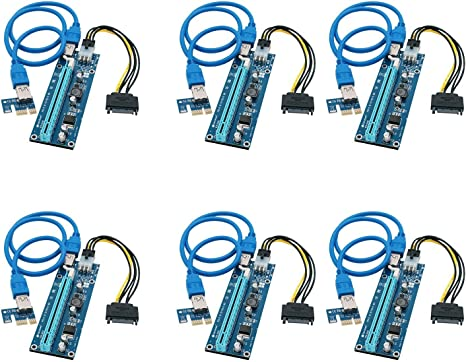 6-Pack PCI-E Adapter SATA USB 3.0 1x to 16x 6Pin V006c GPU Riser for Mining