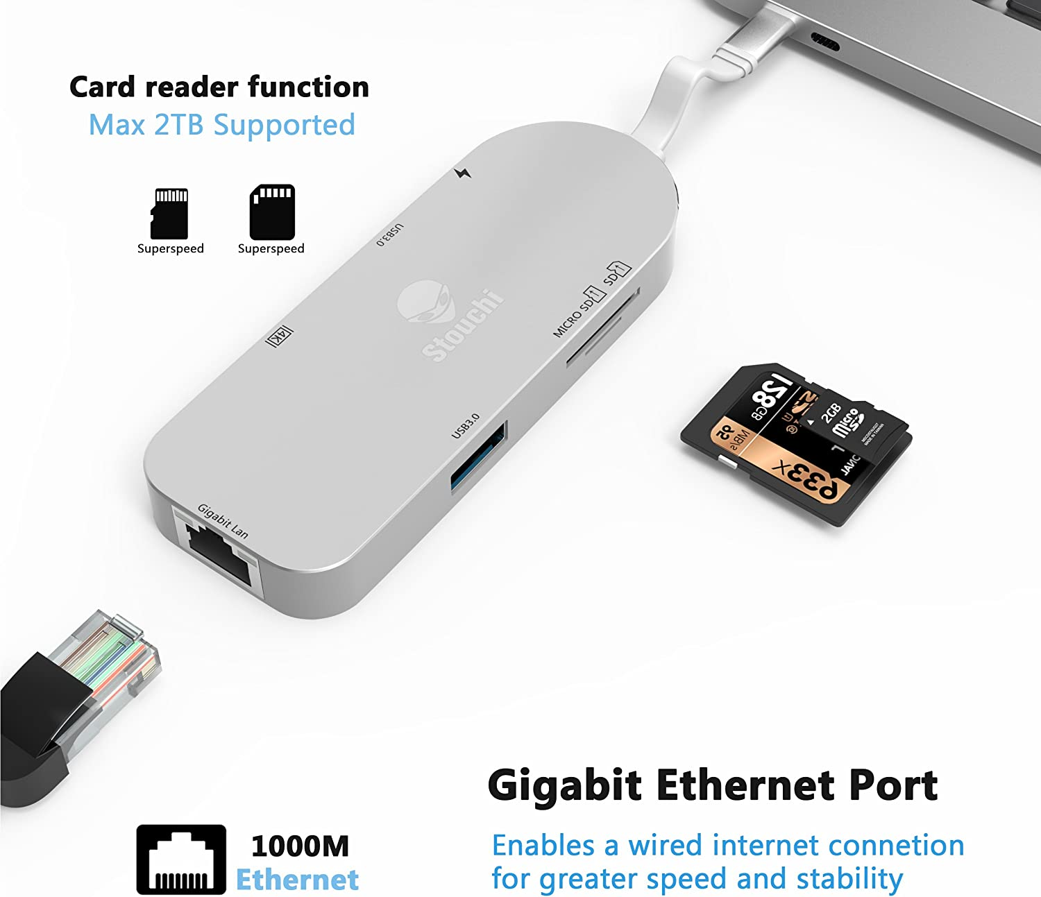 4K HDMI Video Output,SD//Micro Card Reader RJ45 Gigabit E Macbook Pro HUB 2 USB 3.0 Ports USB C to Gigabit Ethernet HUB Adapter Stouchi 7 in 1 TYPE C Hub Multiport Adapter With Type C Charging Port
