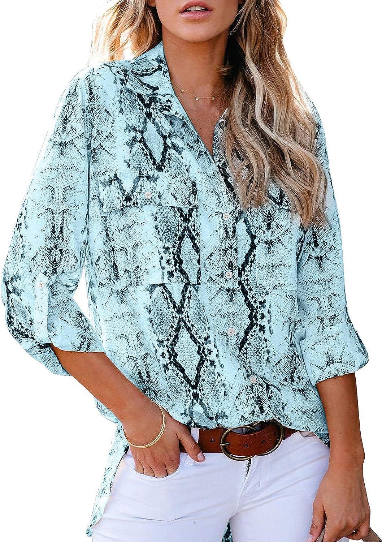 Astylish Women Button Down Snake Print 3 4 Tab Sleeve Tunic Blouse Tops Shirts