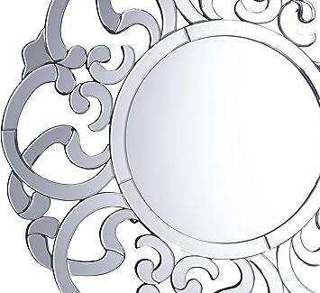 Miroir rond argenté MORNAIX