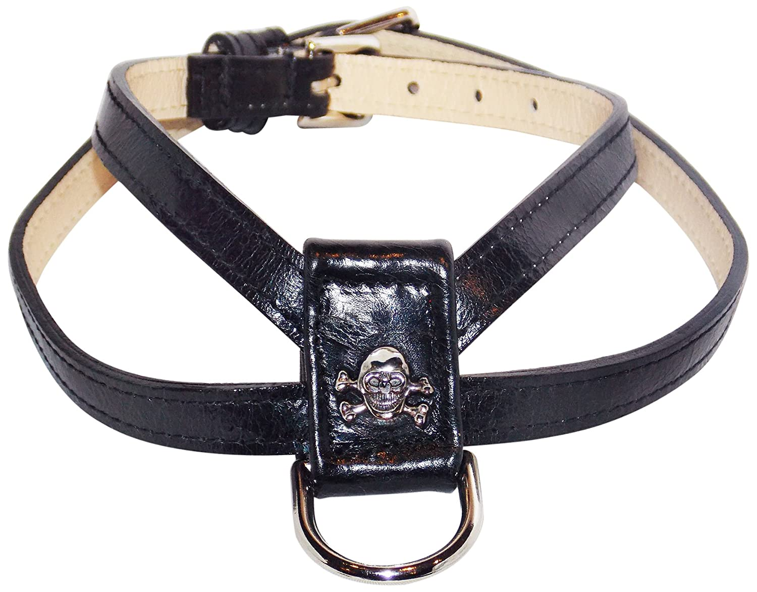 BLACK Small BLACK Small POOCHEE DESIGNS Large Skull K Dog Harness, Small, 14 to 17, for pets up to 12lbs, 1 2  wide, Black with Large Skull Rivet