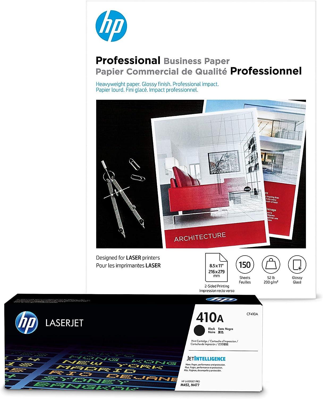 HP 410A Black Toner + HP Professional Paper, Glossy, Laser, 8.5 x 11, 150 sheets