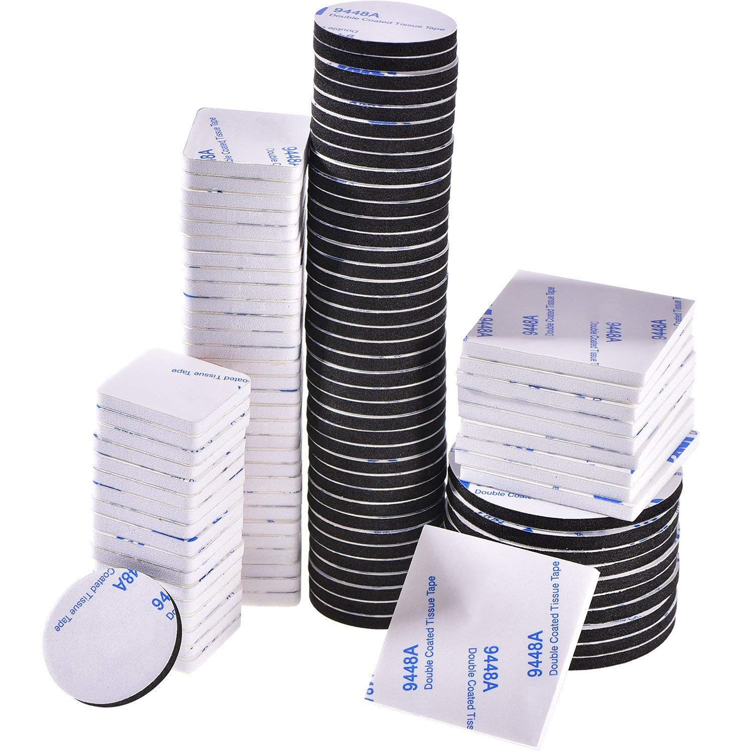 100 Pieces Double Sided Adhesive Foam Pads Strong Adhesive Mounting Tape, Square and Round, Black and White Bememo