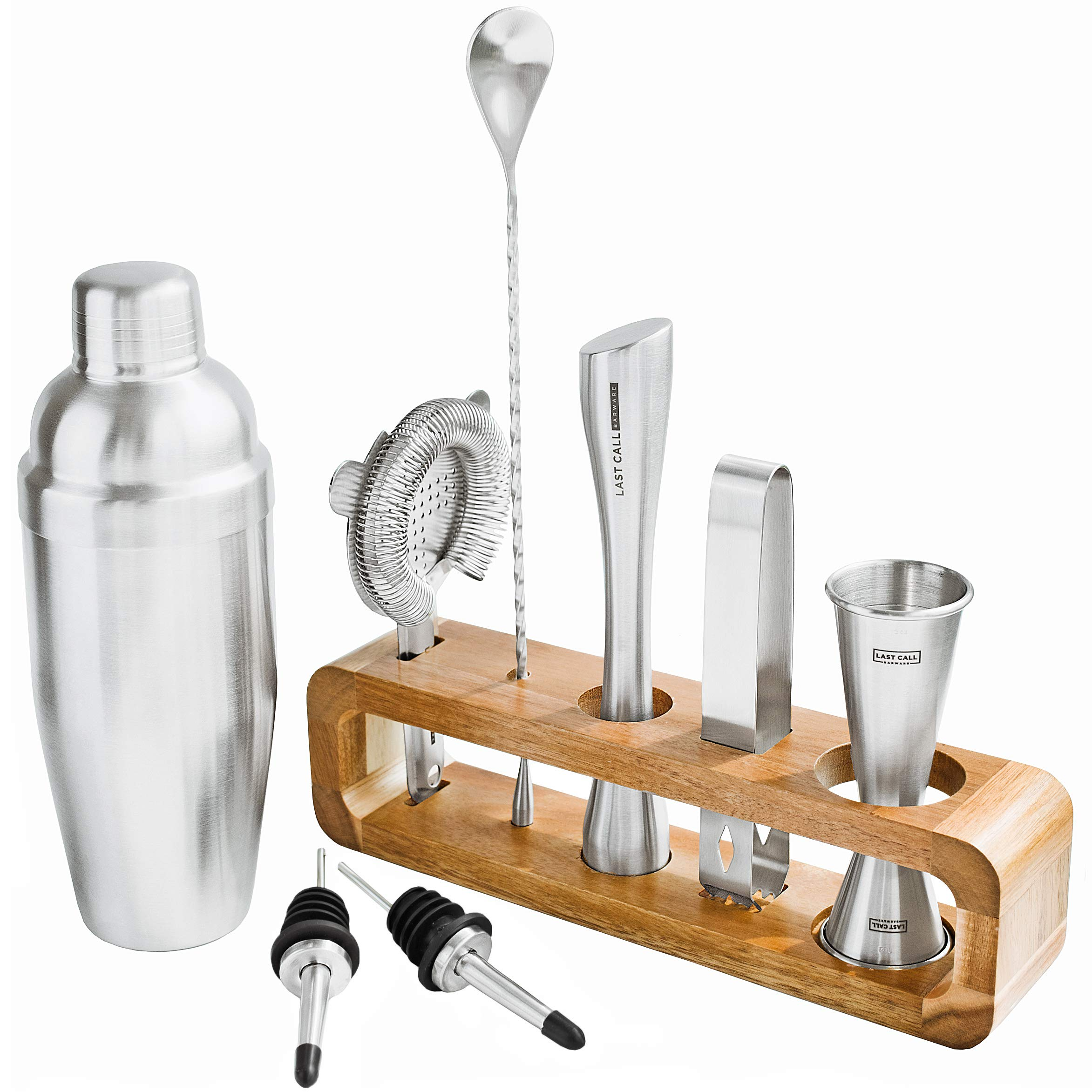Modern 9 piece Bartender Kit with Natural Acacia Wood Stand - Top Grade Professional and Home Bar Cocktail Shaker set with Premium Bar Tools - Perfect for Mixing any drink! - Brushed Stainless Steel
