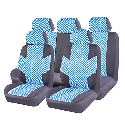 CAR PASS HOMESTYLE Linen Universal Fit Car Seat Covers with Opening Holes,Universal fit for Suvs,Cars,Trucks,Sedans,Vans,Airbag Compatible(Black with Mint Blue): Automotive
