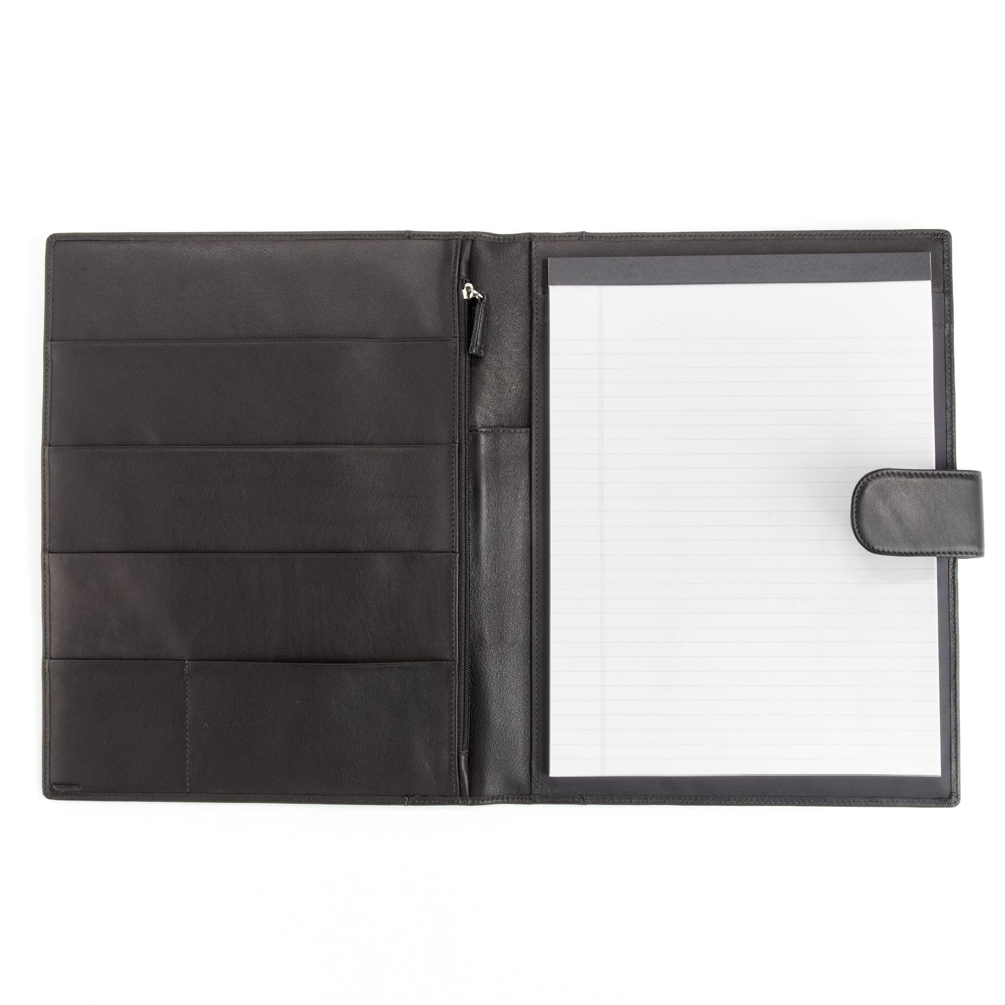 Leatherology Organizer Portfolio with Tablet Pocket & Magnetic Closure - Full Grain Leather - Black Onyx (black)