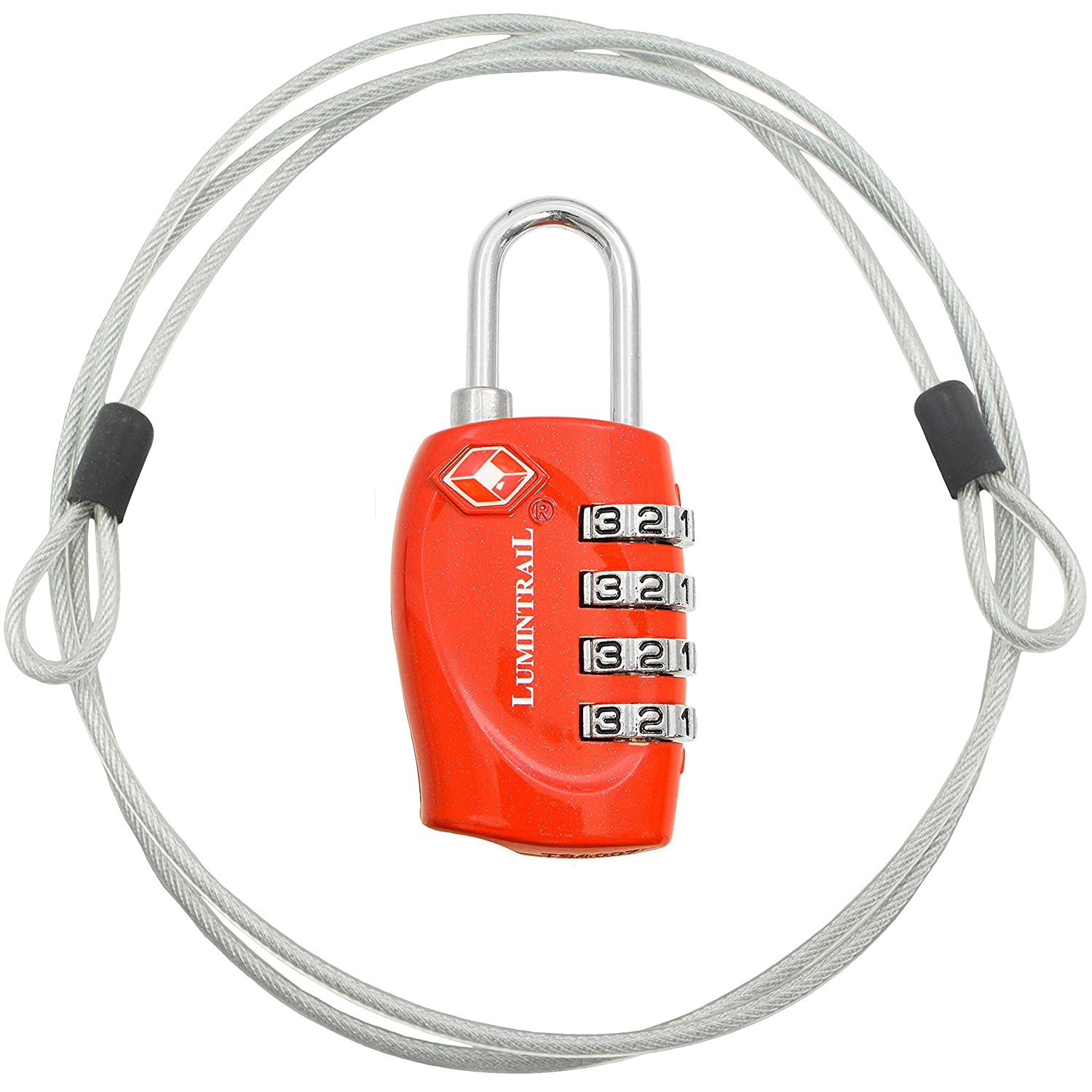 TSA Approved Travel Luggage Resettable Combination Lock w/ 4-ft Steel Cable Lumintrail LKTSA330