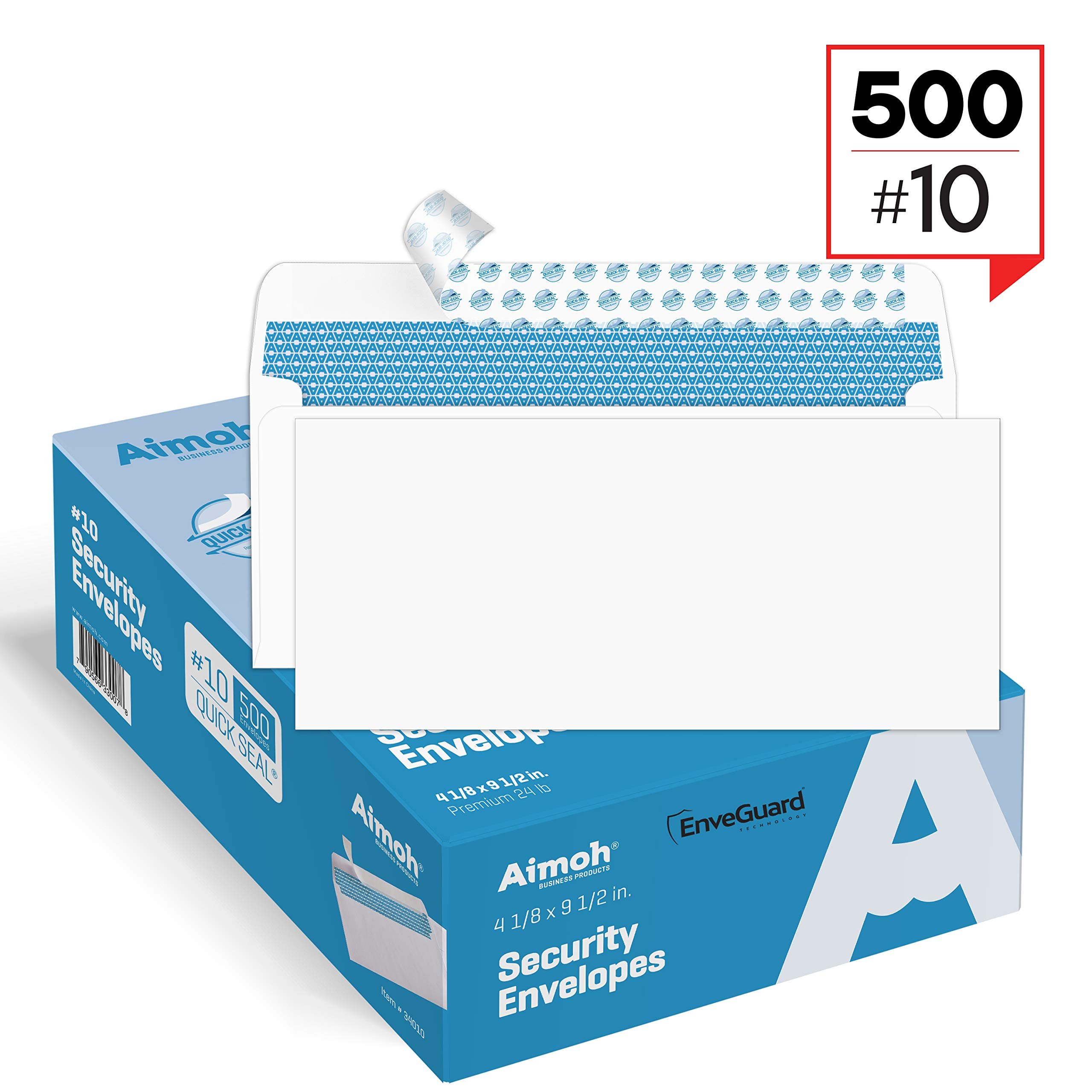 #10 Security Tinted Self-Seal Envelopes - No Window, Size 4-1/8 X 9-1/2 Inches - White - 24 LB - EnveGuard - 500 Count (34450)