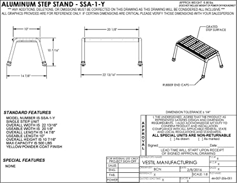 1 Step Welded Yellow Vestil SSA-1-Y Aluminum Step Stand