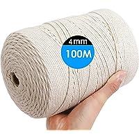 H HOME-MART Macrame Cord Rope, Macrame Natural Cord 100M 4mm for Knittin,Yarn Crafting,Macrame Cord,Cord DIY Craft…