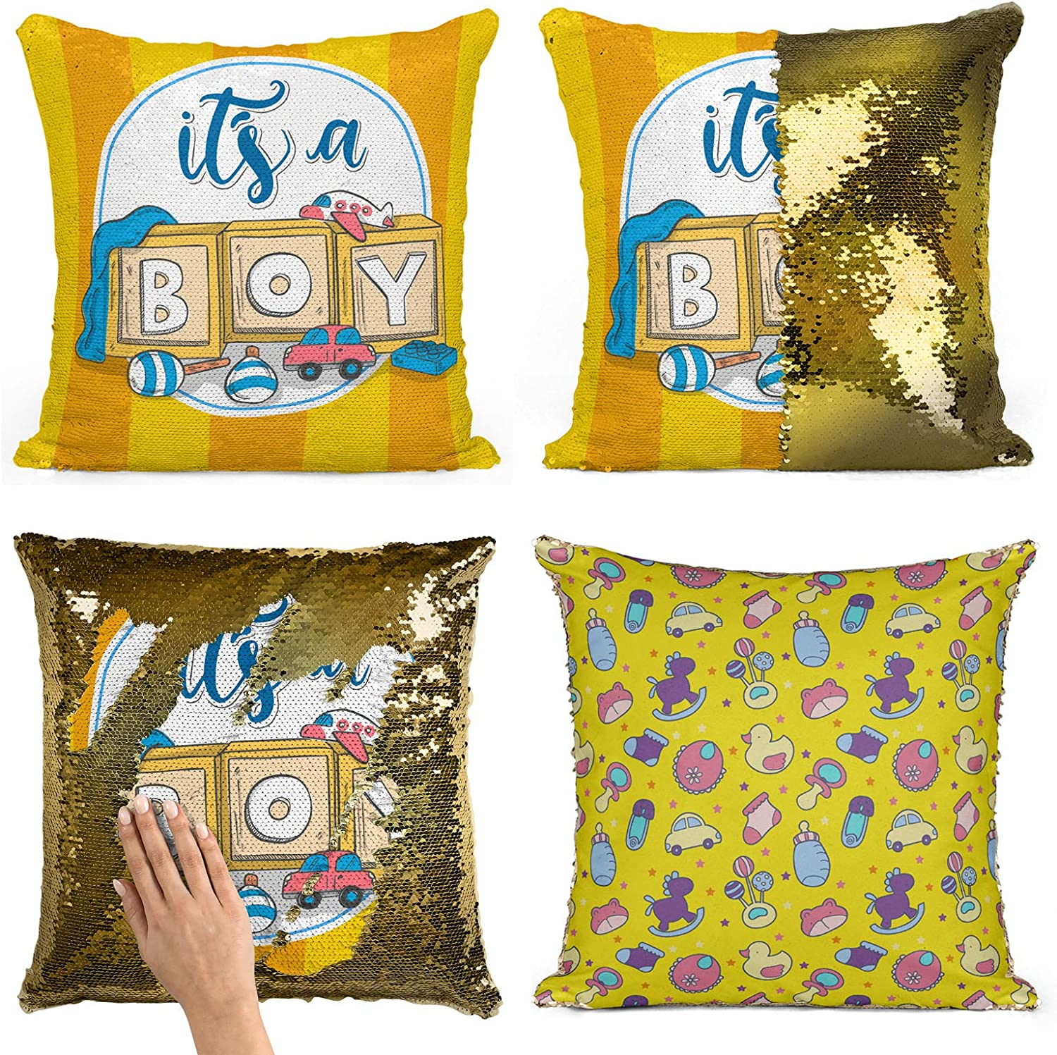 Bad Bananas Reversible Sequin Gender Reveal Pillow Boy Great For Baby Showers And Parties Male Boy Gender Reveal Gift Home Kitchen