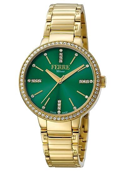 FERRE Milano fm1l084 m0071 verde oscuro esfera con oro de la mujer banda reloj de acero inoxidable.: Amazon.es: Relojes