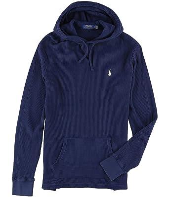 Amazon Com Ralph Lauren Mens Waffle Knit Hoodie Sweatshirt Blue L