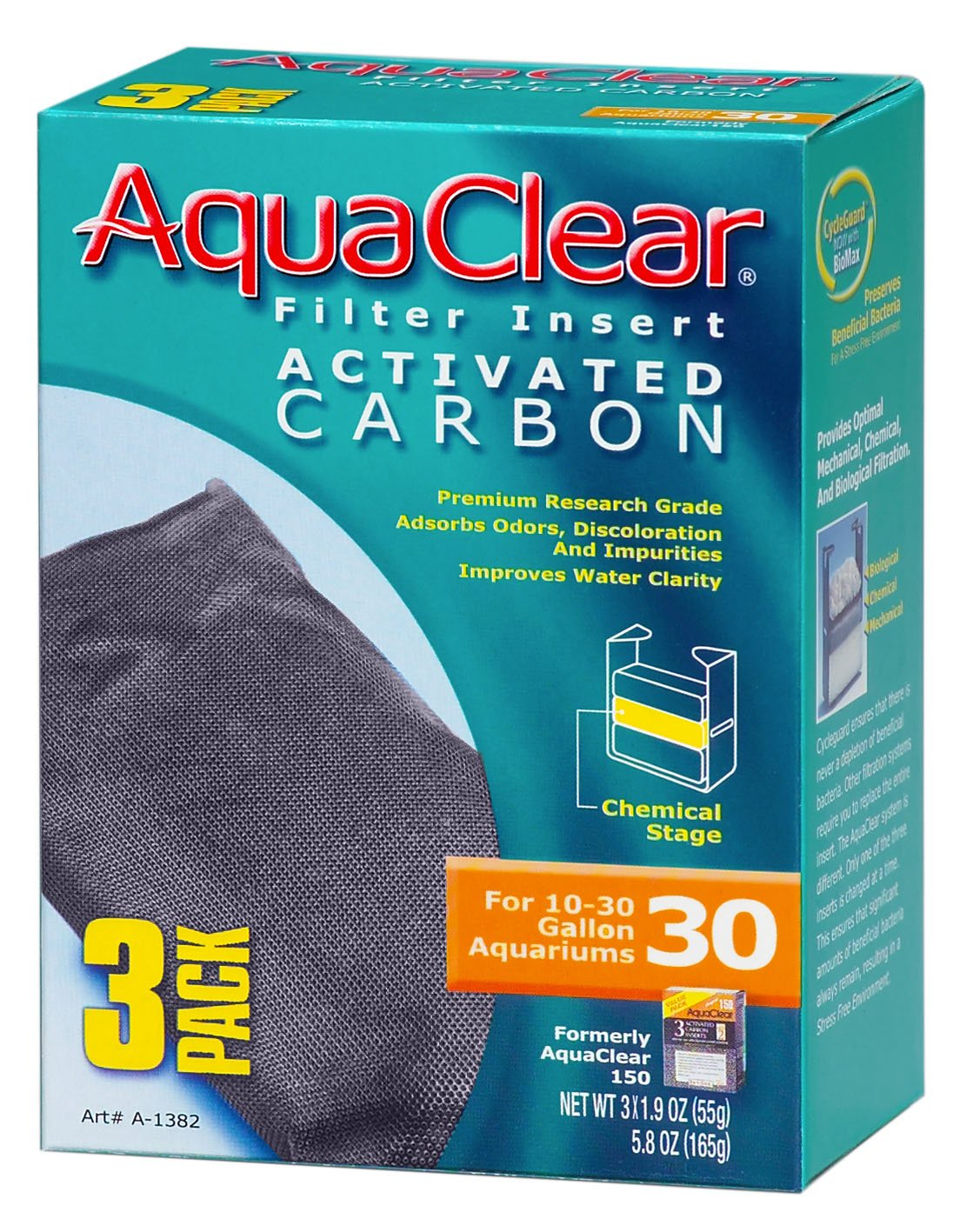 Aquaclear Activated Carbon Insert, 30-Gallon Aquariums, 3-Pack Rolf C. Hagen (USA) Corp. A1382