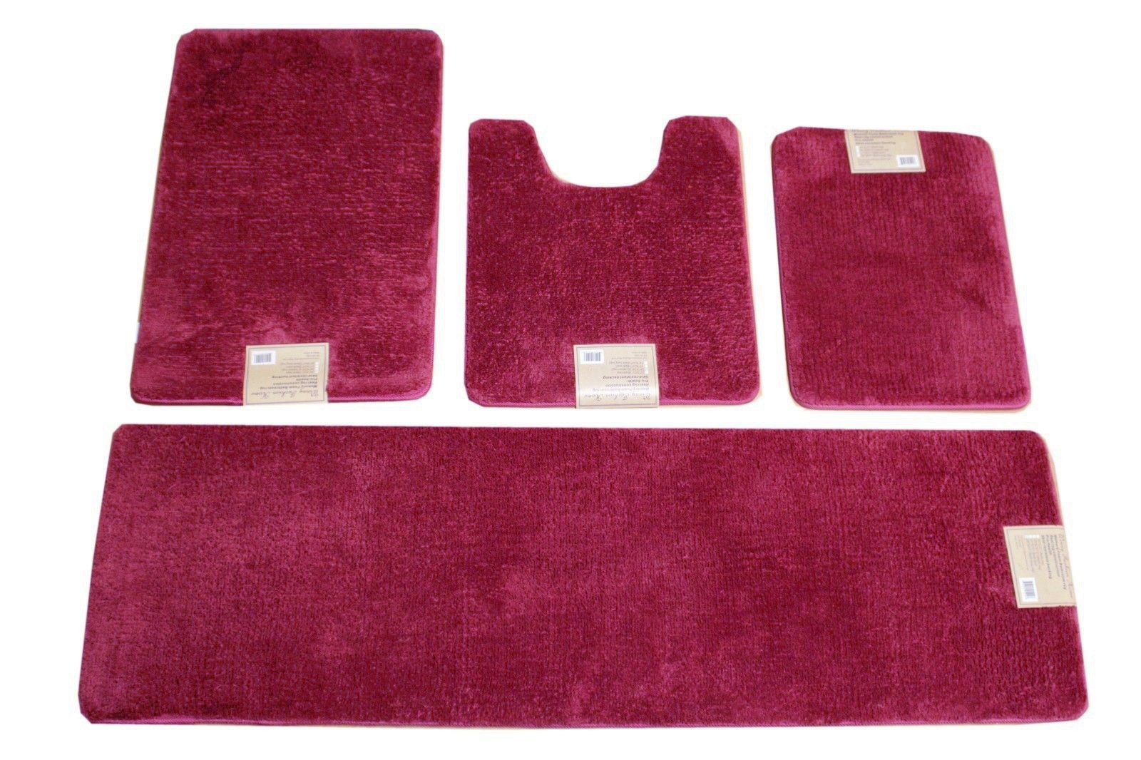 4 Piece Full Set Luxury Solid Color Extra Long Memory Foam Bathmats (17x23''/20x24''/20x32''/20x64'') (Cherry pink )