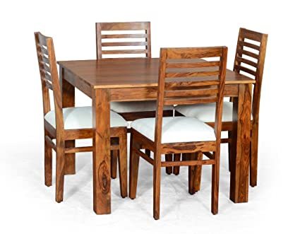 Madera Chester Four Seater Solid Wood Dining Table Set (Teak Finish, Brown)