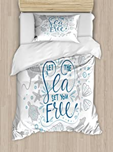 Ambesonne Nautical Duvet Cover Set, Let The Sea Set You Free Words with Shellfish Turtle and Stingray, Decorative 2 Piece Bedding Set with 1 Pillow Sham, Twin Size, Blue Navy