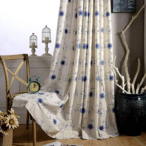 Vogol Curtains 96 Inches Long Blue Floral Embroidered Elegant Window Treatments For Dining Room Girls Room Top Grommet 2 Pieces Home Kitchen