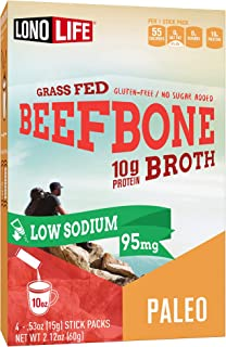 product image for LonoLife Low-Sodium Grass-Fed Beef Bone Broth Powder with 10g Protein, Paleo and Keto Friendly, Stick Packs, 4 Count