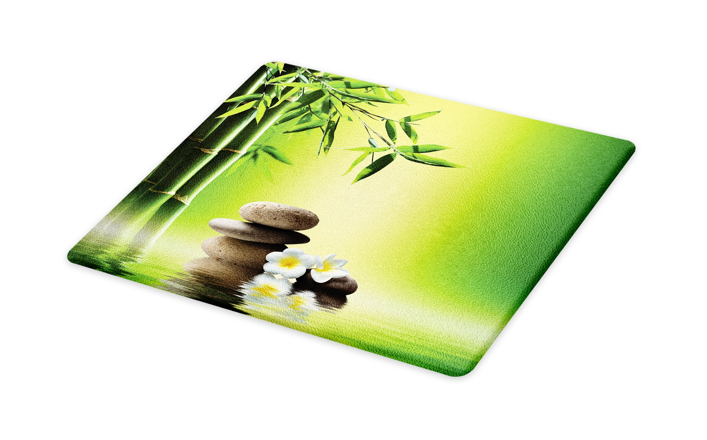 Lunarable Spa Cutting Board, Japanese Therapy Relaxation Stones Frangipani Flowers Bamboo Tree Healthcare Theme, Decorative Tempered Glass Cutting and Serving Board, Small Size, Green Yellow