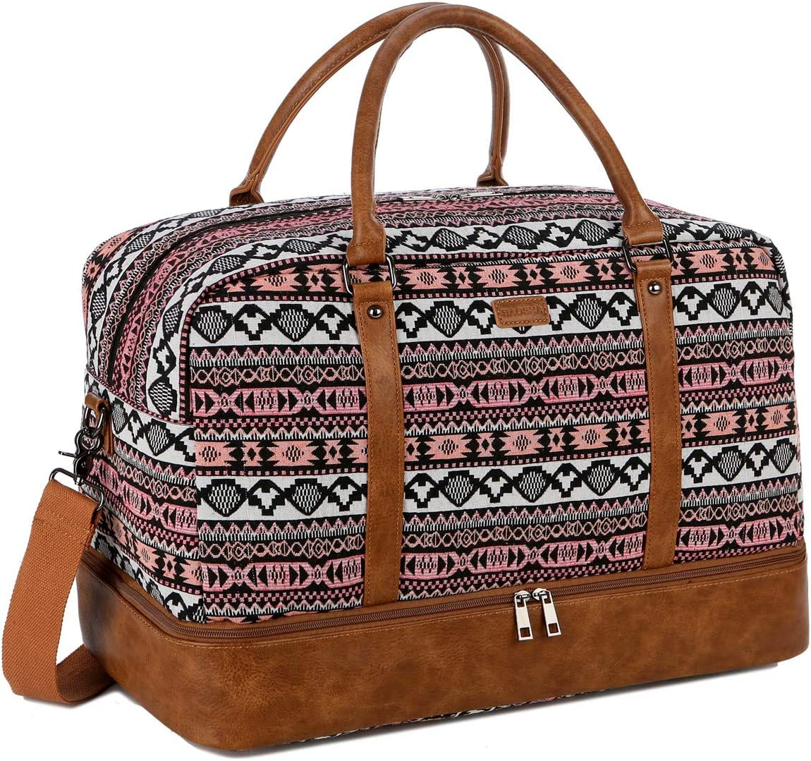 BAOSHA Women s Colorful Travel Duffel Bag Overnight Weekender Bag Carry On Tote Bag With Shoes Compartment HB-38 YS