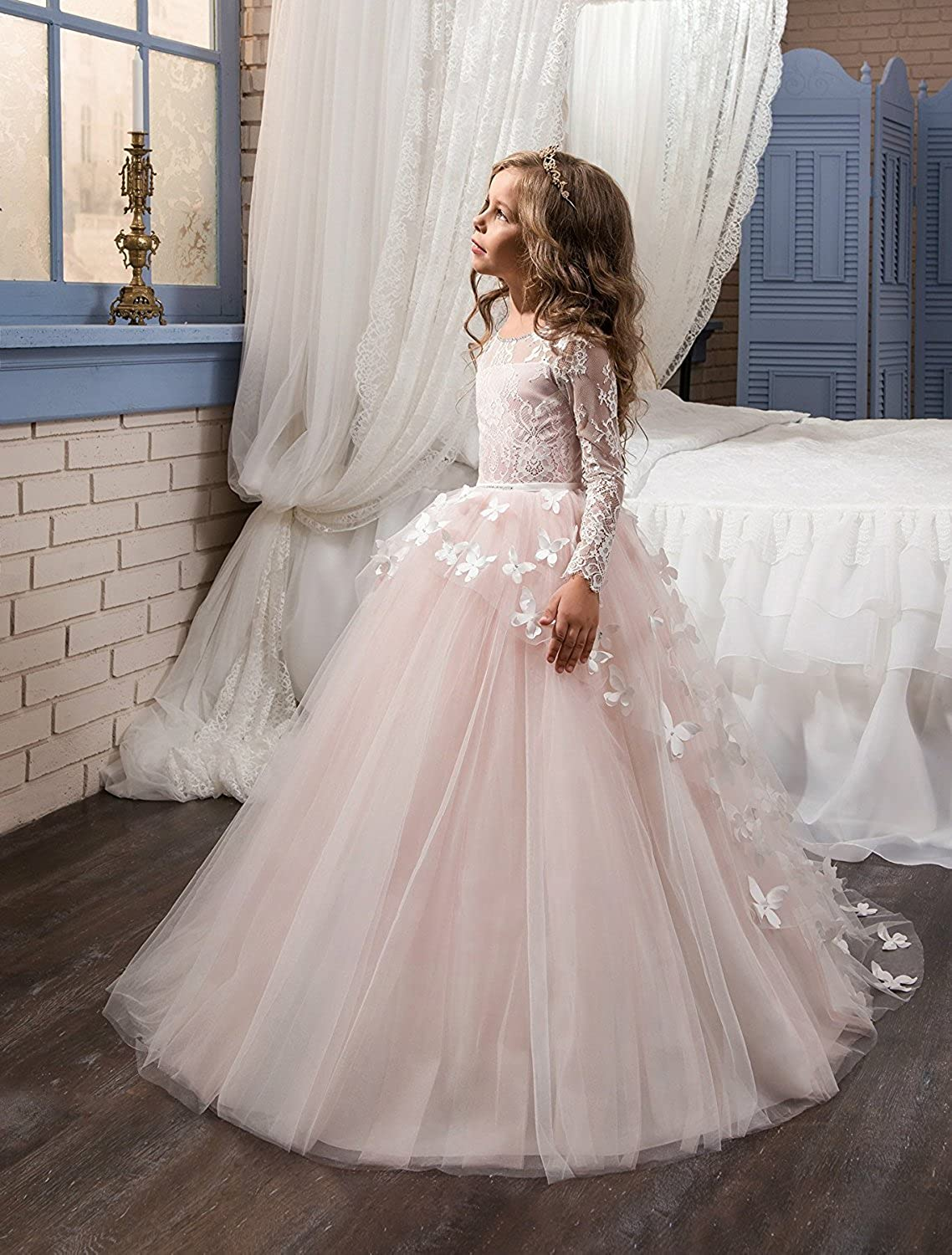7383d943d1 Amazon.com  ABaowedding Flower Girls  Dress for Wedding Butterflies Long  Sleeve Princess Dress  Clothing
