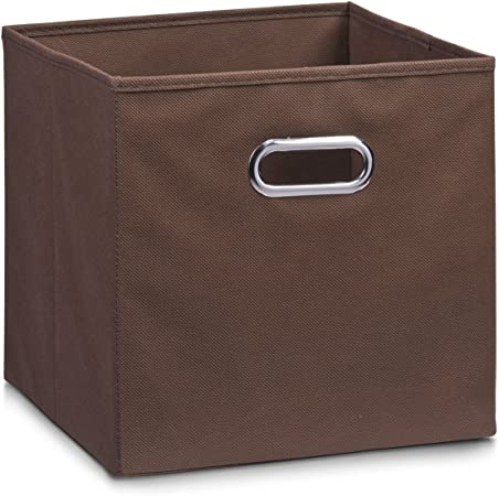 Zeller 14132 - Caja de almacenaje de tela, plegable, 28 x 28 x 28 cm, color marrón: Amazon.es: Hogar