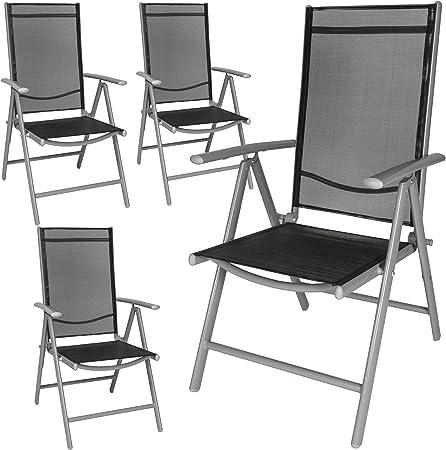 TecTake Lot de aluminium chaises de jardin pliante avec accoudoir diverses couleurs et quantités au choix (Gris | 4 chaises | no. 401632)
