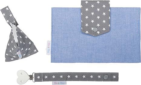 3/piezas, con bolsa para pa/ñales, funda para chupete y cinta para Chupete Filia /& Filius neceser para pa/ñales para beb/é Vichy Blau