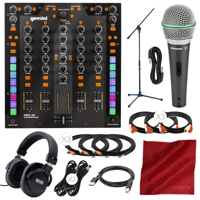 Gemini PMX-10 A- A-B Box/DJ Mixer with Microphone, Headphones & Assorted Cables Platinum Bundle by Gemini - PS