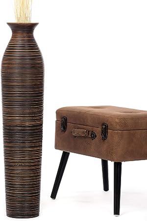 vase d/écoratif 20 cm-diam/ètre 8 cm//ouverture 5 cm Vase vase en bois de mangue