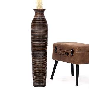 Leewadee Tall Big Floor Standing Vase For Home Decor, 8x36 inches, Wood, brown