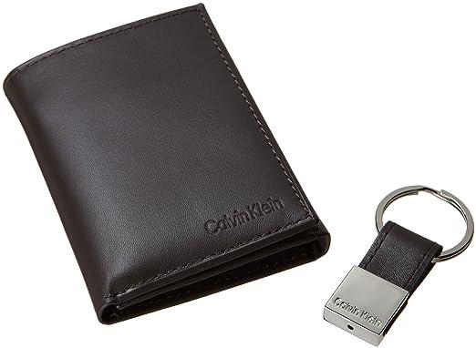 Calvin Klein hombres de Pebble Piel Slim Trifold cartera y llavero Set - Marrón -: Amazon.es: Ropa y accesorios