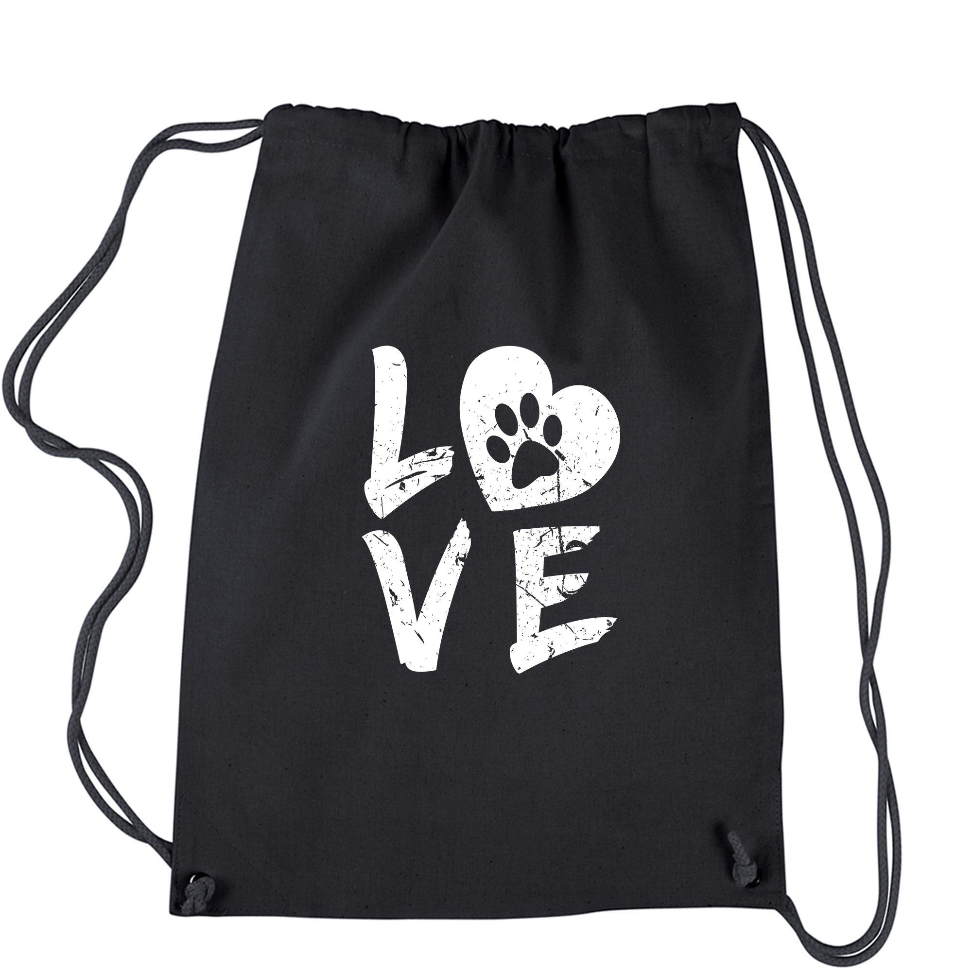 Backpack I Love My Dog Paw Print Black Drawstring Backpack