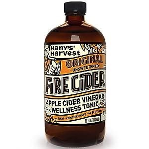 Hany's All Natural Original Fire Cider Tonic with Organic Apple Cider Vinegar, Lemon, Yellow Onion, Garlic, Ginger, Horseradish, Cayenne Pepper and Turmeric 32 oz