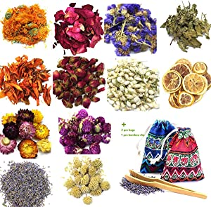 Oameusa Dried Flowers,Dried Flower Kit,Candle Making, Soap Making, AAA Food Grade-Pink Rose,Lavender,Lily,Mint Leaf,Lemon,Chrysanthemum,-9 Bags Box Packing