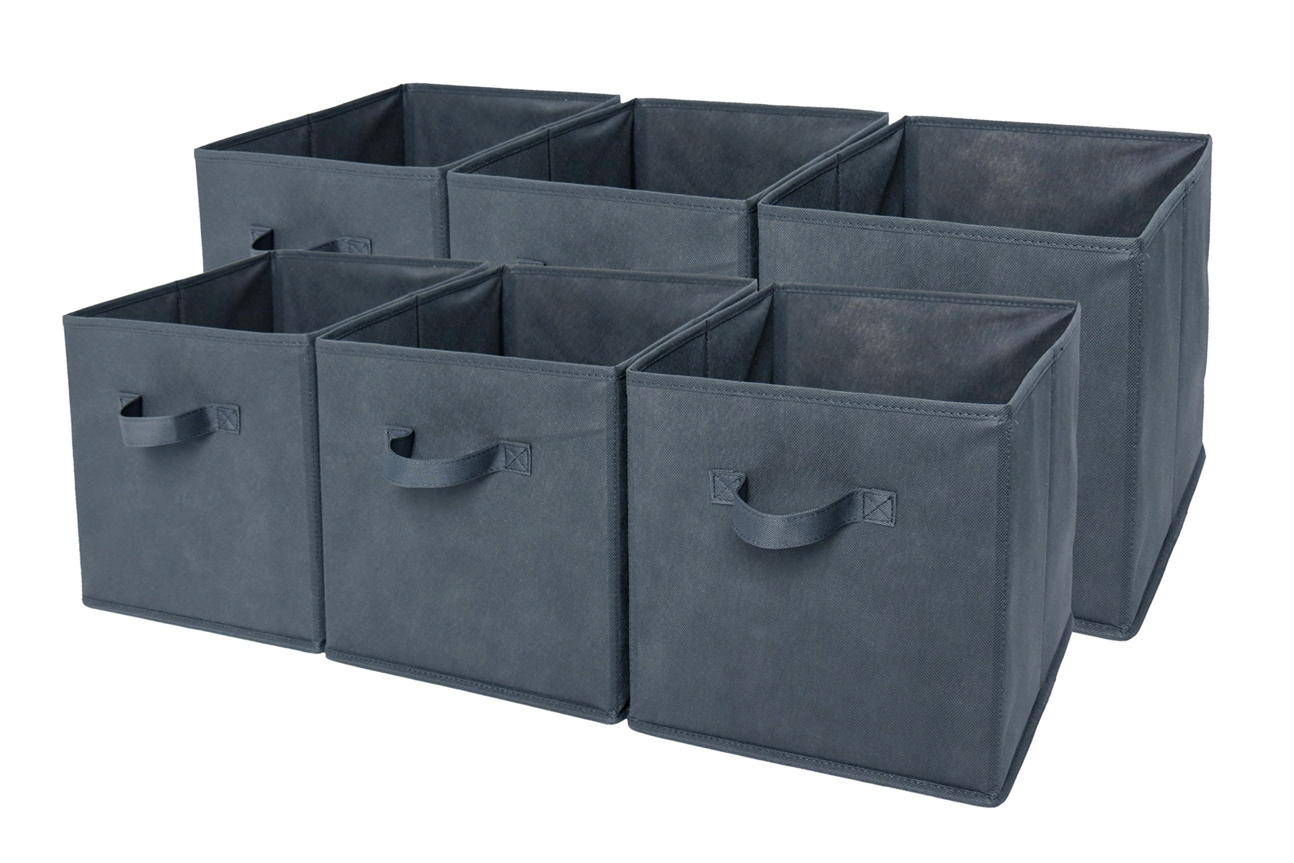 Sodynee Foldable Cloth Storage Cube Basket Bins Organizer Containers Drawers, 6 Pack, Grey by Sodynee