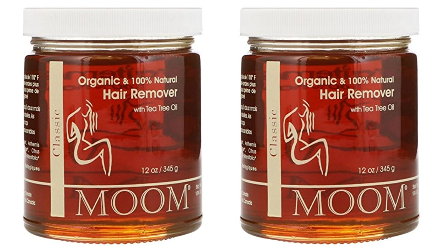 Moom Organic Hair Removal With Tea Tree Refill Jar – 12 oz Pack of 2