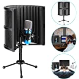 Neewer Tabletop Compact Microphone Isolation Shield with Tripod Stand, Mic Sound Absorbing Foam for Studio Sound…
