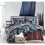 Midnight Blue Botanical Print Duvet Quilt Cover Egyptian Cotton Bedding Set Modern Luxury Minimal Palm Leaf Dark Navy Taupe F