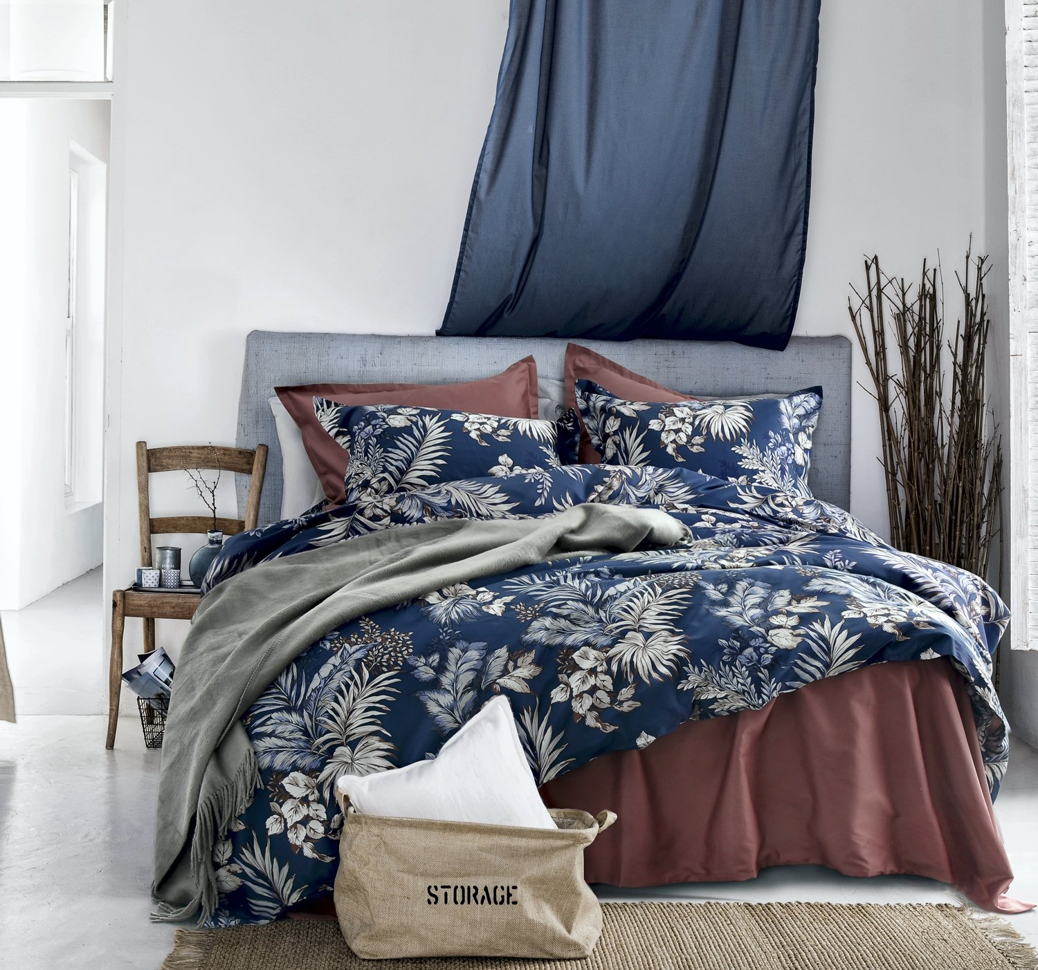 Eikei Midnight Blue Botanical Print Duvet Quilt Cover Egyptian Cotton Bedding Set Modern Luxury Minimal Palm Leaf Dark Navy Taupe Floral Watercolor Design (Queen)