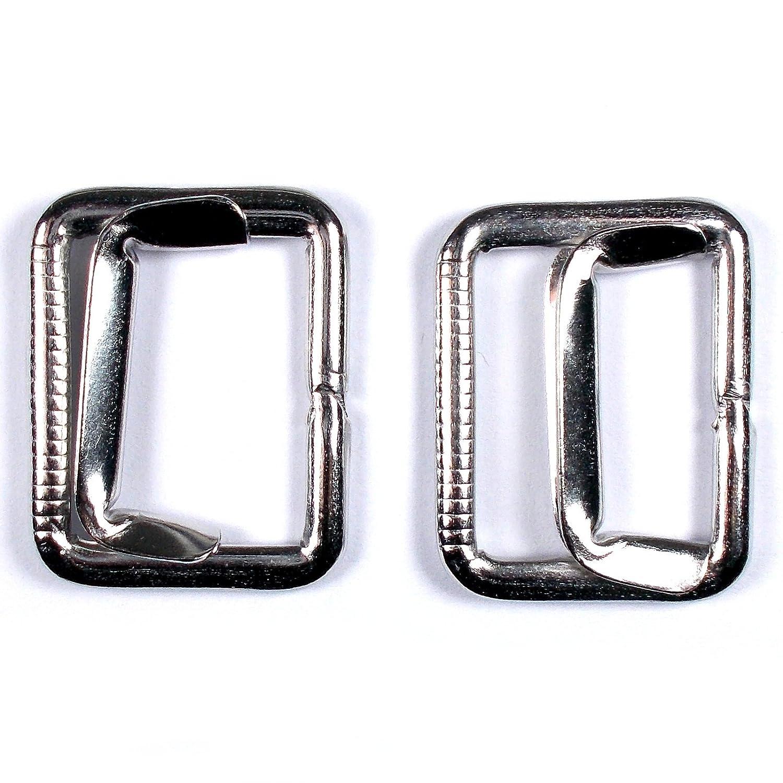 Metal Waistcoat Vest Buckle Slider Fastener Silver Colour 2.5cm x 2cm Pack of 2 Unknown