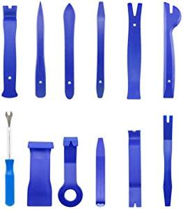 homEdge Auto Trim Removal Kits of 12 Pcs, Tool Kits for Car Radio Installation, Upholstery Removal Kit Pry Bar Scraper Set-Blue