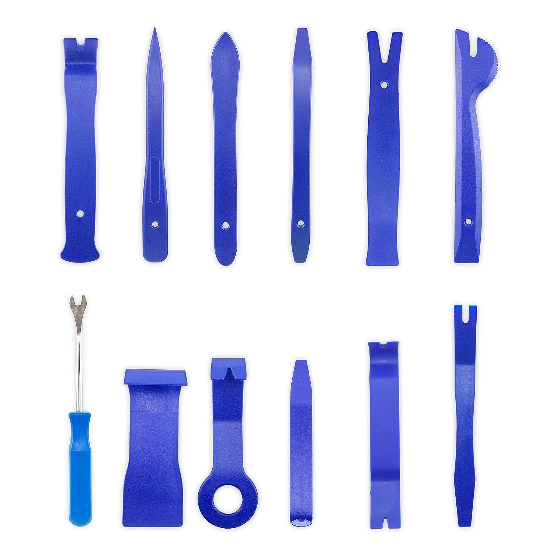 trousses /à outils pour linstallation dautoradio kit de d/épose de rembourrage pour levier de barre de levier homEdge Kits de d/épose de garniture automatique de 12 pcs bleu