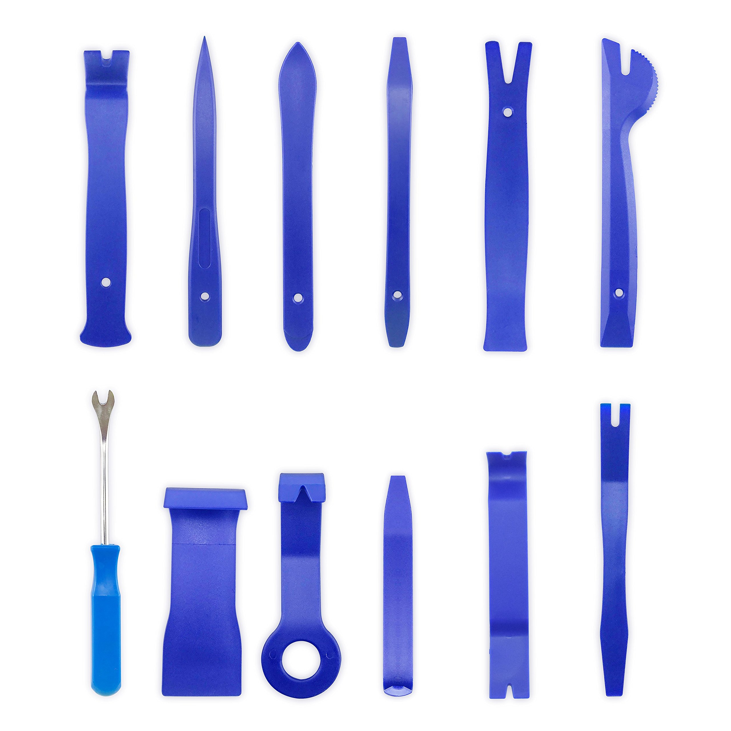 homEdge Auto Trim Removal Kits of 12 Pcs, Tool Kits for Car Radio Installation, Upholstery Removal Kit Pry Bar Scraper Set-Blue by homEdge (Image #1)
